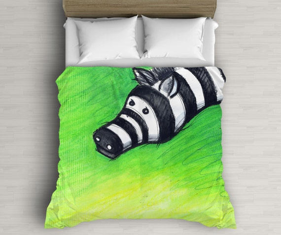 Green Duvet Cover, Zebra Art, Art For Kids Room, Bedding Set, Kids Duvet Cover, Twin Bedding