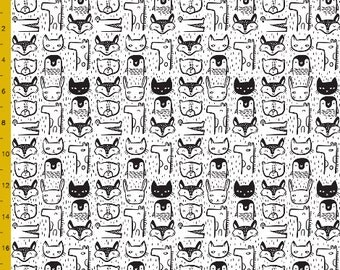 Crib Fitted Sheet - Animal Faces / Monochromatic Baby Crib Sheets / Black and White Crib Sheet