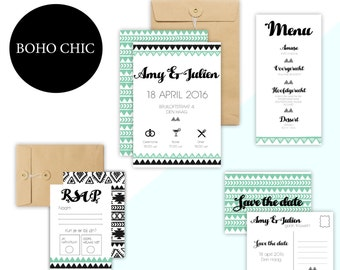 Boho Chic-complete wedding package (100 sets)