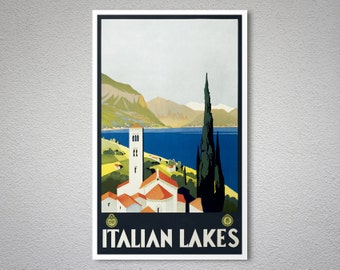Italian Lakes Italian Vintage Travel Poster - Poster Print, Sticker or Canvas Print
