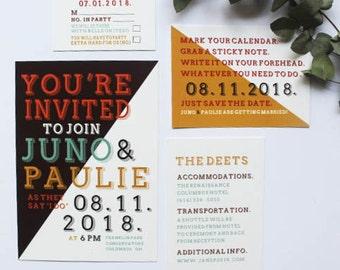 Modern Wedding Invitations, Hipster Wedding Invites, Simple Wedding Invitation Suite, Custom Wedding Invitation, Bold Invites, Unique,SAMPLE