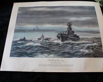 Task Force of Two Navies Fine Art Lithograph by Lt. Dwight Shepler - Printed in the U.S.A.