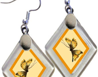 "Earrings ""Annie's Butterflies"" from rescued, repurposed window glass ~ art by Annie Miller Romero"