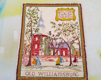 Large Vintage Needlepoint Depicting Bruton Parish Church in Williamsburg VA, Vintage Wall Hanging, Vintage Tapestry