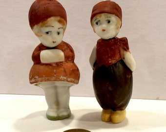Vintage Bisque Nodder Doll, Boy and Girl Bobble Head Dolls, 3 inch dolls, Set of 2, Made in Germany, Knotter Doll, Circa 1920s