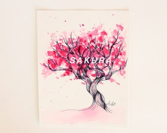 Pink sakura tree illustration. Girly original watercolor. Magenta foliage. Typography. Relaxing yoga art. 6x8 inches.