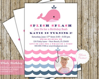 Whale Birthday Invitation Girl Whale Birthday Invites Pink and Navy Blue Digital Printable