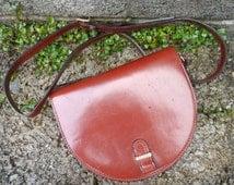 Vintage brown leather shoulder compartment bag purse - vintage Italian Boho ladies purse - brown vintage ladies designer bag