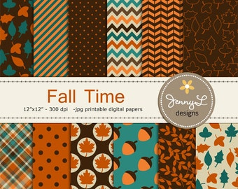 Fall Digital Papers, Autumn, Acorn, leaves for Digital scrapbooking, invitations, birthday, wedding, planner