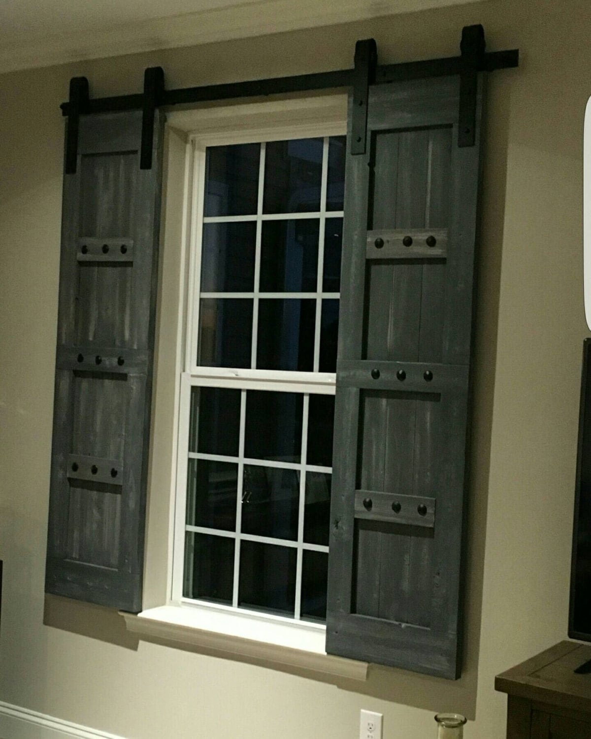 Interior window barn shutters sliding shutters barn for Interior door with window