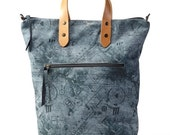 Denim Blue Leather Tote Bag / Cross Body Bag / Travel Bag / Weekend Bag / Every Day Purse / Over Size Bag / Sac Bag / Printed Bag - Puma