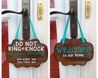 Do Not Ring or Knock door sign - sleeping children sign