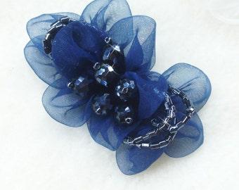 Set of 2 - Rose Shoe Clips, Shoe Clips, Dark Blue Shoe Clips, Bridal Clips, Flower Shoe Clips, Organza Shoe Clips