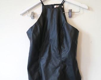90s  black cutaway top, leather look, crop top, Luvalot, punk rock gothic, XXS 6, 116/29