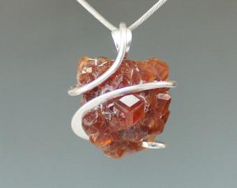 Spessartite Garnet Crystal Cluster Cold Forged Sterling Silver Pendant