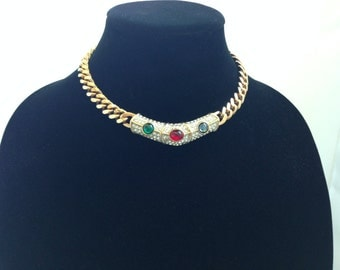 "15.5"" Vintage Costume Collar Necklace Circa late 80's early 90's."