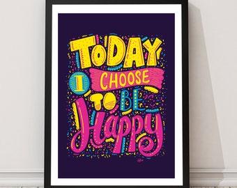 Happy Typographic Print