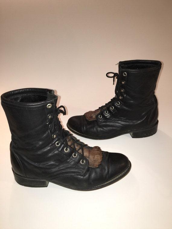 Popular Laredo Boots Womenu0026#39;s 52142 Black And Tan Cullison Snip Toe Leather Cowboy Boots ...