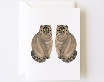 The Twins Cat Greeting Card with Envelope
