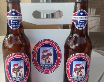 Personalized Beer Bottle Labels 6 Pack Set Graduation Party Congratulations Beer Labels  Custom Design Waterproof Beer Labels Six Pack Set