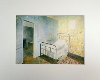 """Vintage Eric Ravilious Art Print """"The Bedstead"""" Beautifully Matted & Mounted"""