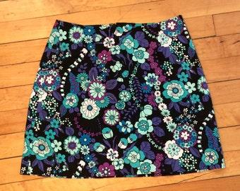 High waisted paisley print skirt