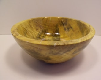 Decorative lathe turned wooden bowl.