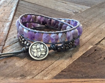 CatMar Beaded Matte-Finish Amethyst Wrist Wrap Bracelet on Pewter Leather Cord with Button/Loop Closure