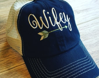 Wifey hat! Trucker style Wifey embroidered with cute arrow below. Customize colors!