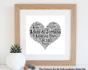 personalised 5th anniversary gift word art printable art 5 year anniversary unique