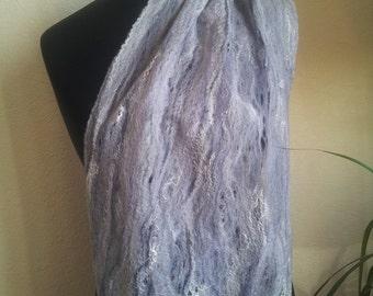 Scarf-cobweb Felted scarf  Wool scarf Gift for Her Felt Grey Womens Scarf Multicolor Scarf