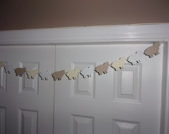 Sheep Garland Beige Cream/Ivory White Cardstock Paper Baby Shower Birthday Party Neutral Hanging Wall Door Mantel Table Decoration