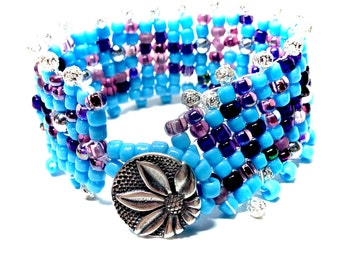 Beaded Bracelet,Cuff Bracelet,Turquoise Bracelet,Seed Beaded Bracelet,Bohemian Bracelets, Beaded Jewelry,Gifts for her,Gifts for teens,Hemp