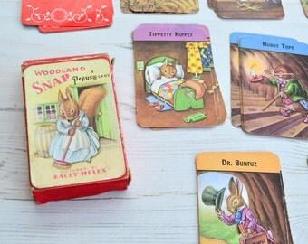 1960s Woodland Snap Pepys Games Racey Helps Meet the Woodland Folk Vintage Card Game Vintage Childrens Game Snap Card Game