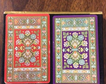 Vintage Unopened Double Pack of Congress Playing Cards w/ Cel - U - Tone Finish Red Deck and Purple Deck w/ Geometric Floral Flower Design