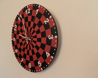 Abstract clock  Black and red wall clock modern wall clock, unique wall clock, Housewares, Retro wall clock
