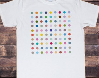Men's White T-Shirt With Iconic Dots  Colourful Dots Art Print TSH6