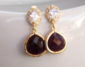 Wedding Jewelry, Cubic Zirconia and Burgundy Earrings, Gold Earrings,Bridesmaids Earrings,Wedding Earrings,Mother's Gift, Post, Dangle,