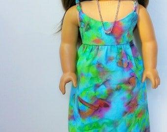 Tropical print tie dye maxi dress for 18 inch dolls such as American Girl doll
