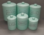 Vintage Mint Green Heller Hostess Ware Aluminum Canister Set w/Rare Cookie & Grease Canister
