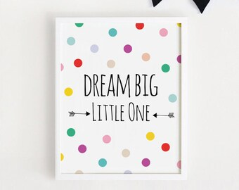 Printable - Dream big little one Poster Cute Art For baby room wall decor Nursery art baby girls room 8x10 INSTANT DOWNLOAD 30x40cm