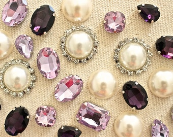 Purple Violet Ivory Rhinestone Thumbtacks, Sparkling Pushpin, Pearl Pushpin Set, Memo Board Thumbtack, Unique Pushpins, Cute Crystal Tacks