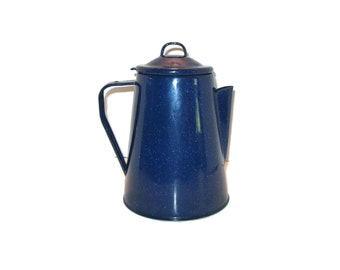Blue Speckled Camping Kettle, Coffee Kettle, Camping Kettle, Tin Kettle, Coffee Maker, Rustic Kettle, Rustic Coffee Maker, Camping Tool
