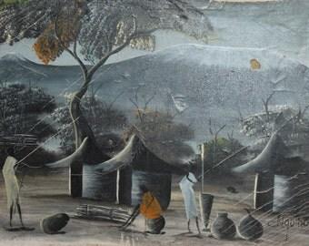Vintage  oil painting native village scene signed