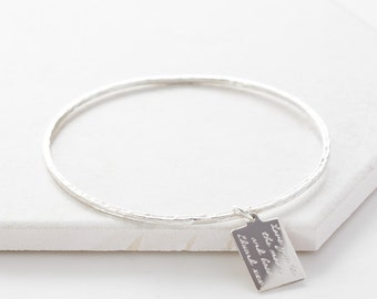 Personalised Silver Tag Message Bangle, message tag, engraved message, personalized, mom, sisters, best friends, bridesmaid, special gift