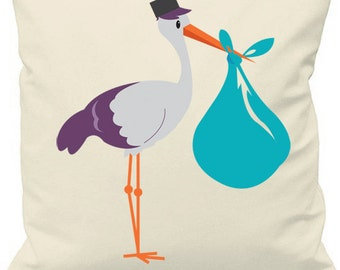 Blue 'It's a boy' Stork Cushion