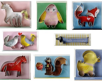 Pack of 8 Gorgeous Cookie Cutters. Fox ~ Unicorn ~ Owl ~ Chick ~ Love Birds ~ Horse ~ Squirrel ~ Dog