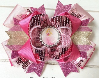 sleeping beauty bow; briar rose bow; princess aurora bow; princess bow; pink and gold bow; boutique bows; bows