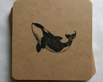 Killer Whale Coasters 6 Pack - handmade hand stamped whale sea life majestic ocean creature killer whale gifts rustic, flat rate shipping