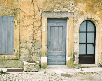 French Decor, European Village, Provence France Photography, Europe Wall Art, Door, Travel Photo, Fine Art Print, French blue, yellow